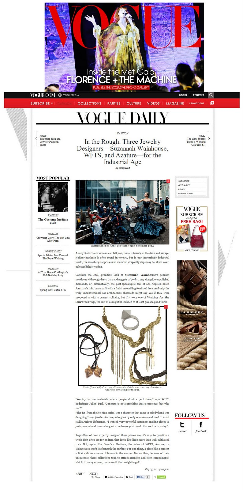 RAW information group VOGUE DAILY IN THE ROUGH 3 JEWELRY