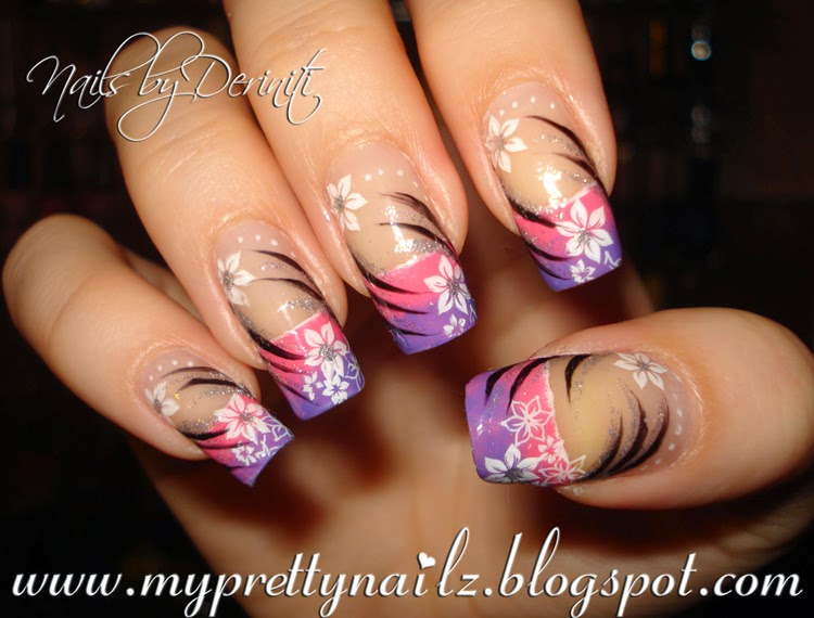 My Pretty Nailz: Pretty Purple and Pink Ombre French Tips with Flowers