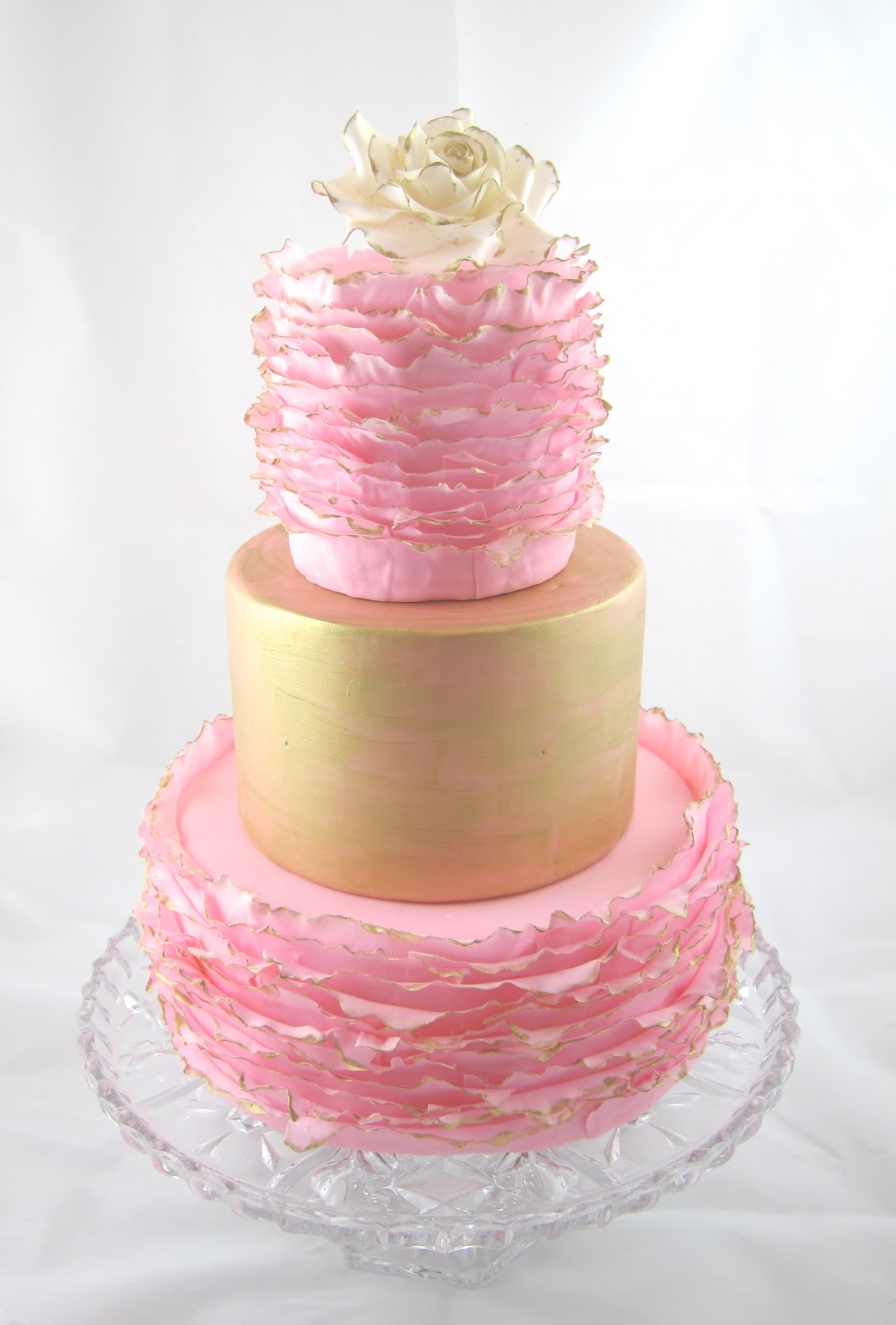 Cakegirl On The Run Gold And Pink Ruffled Cake