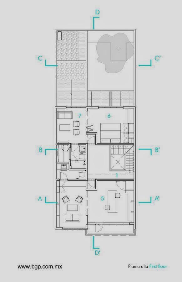 Casa Luis Barragán plano de la planta alta de la casa