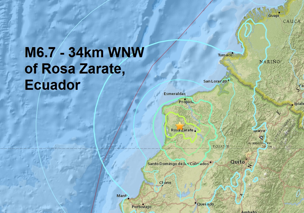 A mag 6.7 strikes Ecuador in the same area as last months deadly mag 7.8