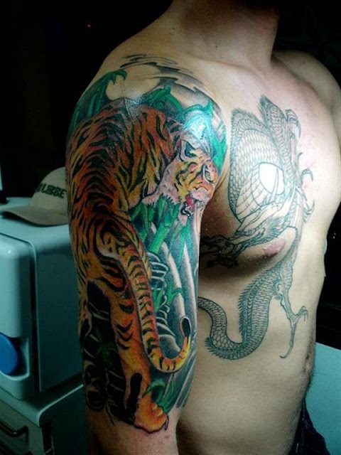 Big Cat Shoulder Tattoo Designs