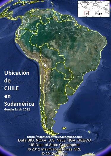 Ubicación de CHILE en Sudamérica, Google Earth