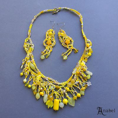 купить яркое украшение из бисера, фриформ, желтый украина
