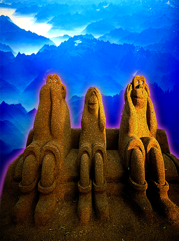 Three Wise Mountain Monkeys Illustration by Ronald David Jackson