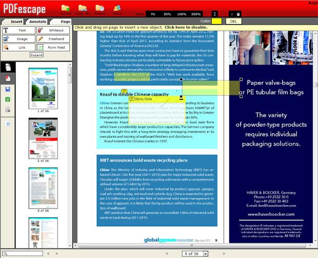 online PDF редактор PDFescape