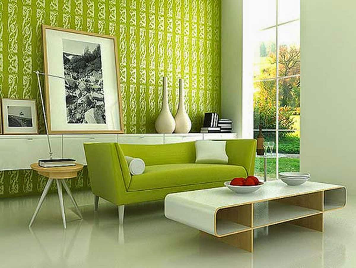 wallpaper ruang tamu hijau