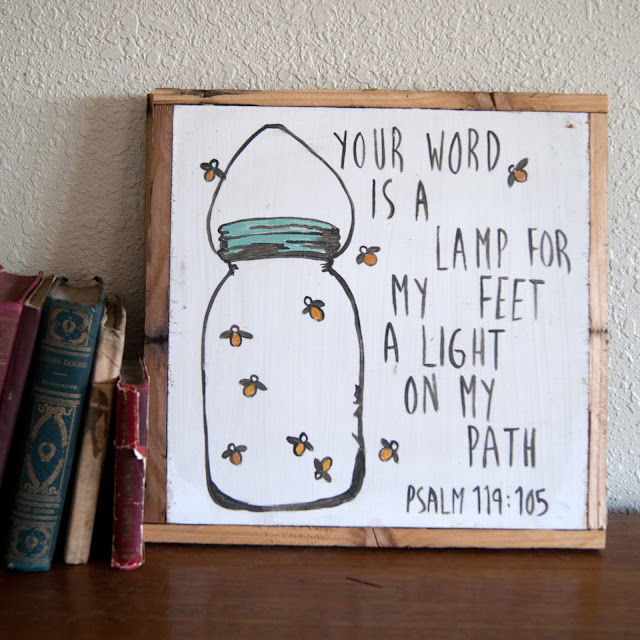 Averie Lane Boutique - psalm 119 - mason jsr and fireflies - reclaimed wood, vintage books
