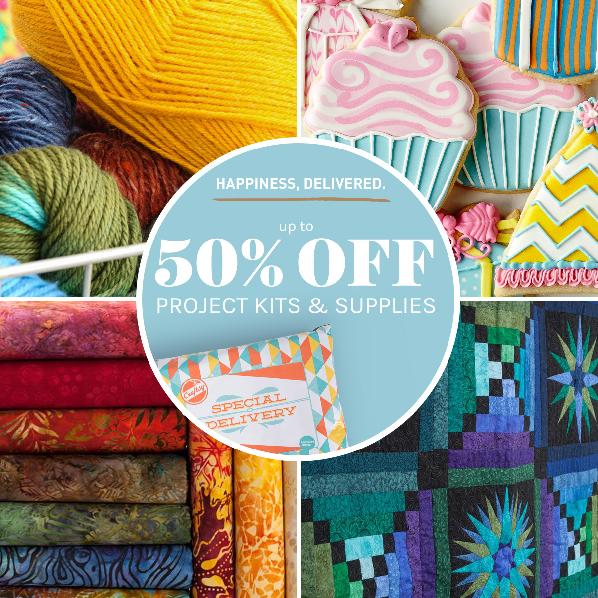 Craftsy is having a supplies and kits flash sale this weekend! Dates 4/29 @12:01am MDT  -through-