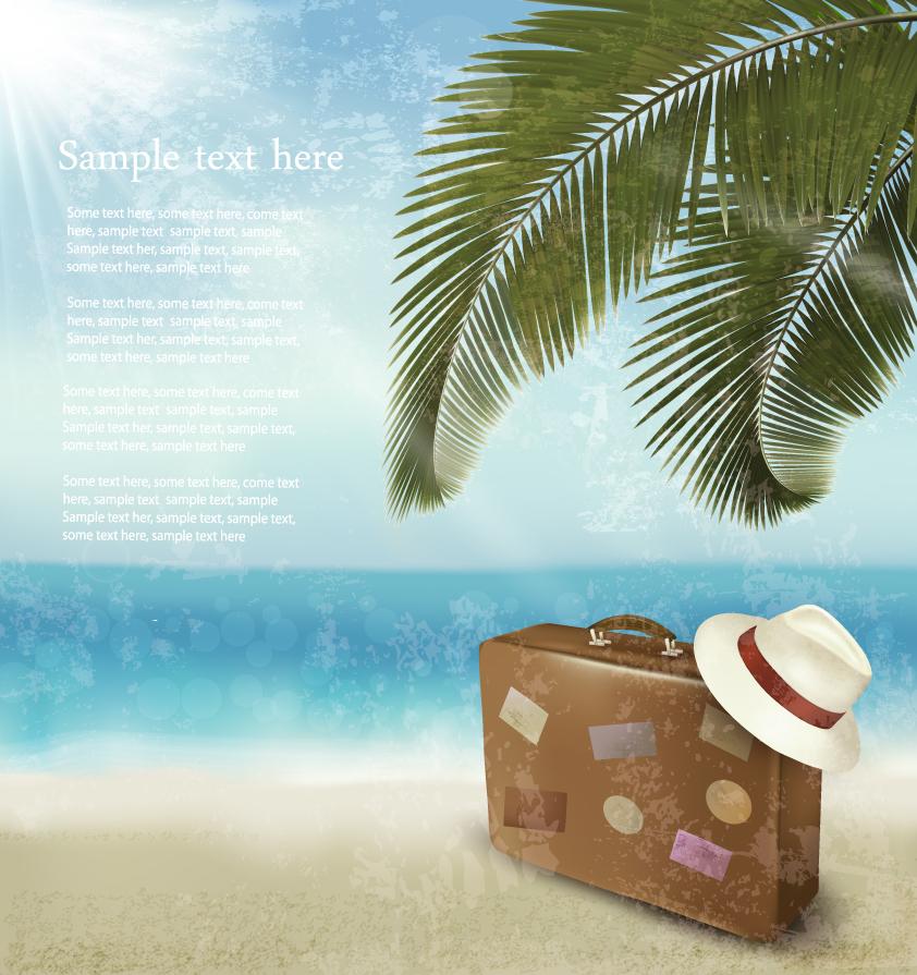 南の島へ旅行をテーマにした背景 Beautiful beach vector background イラスト素材