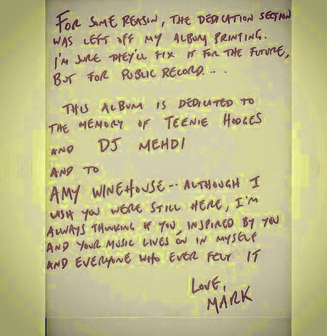 mark ronson, amywinehouse, letter, inscription, music