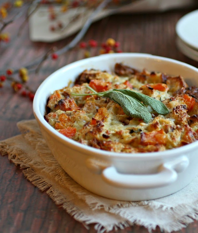Savory Butternut Squash Bread Pudding