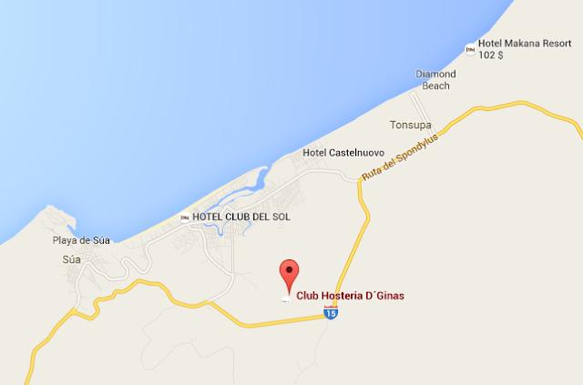 mapa como llegar - Hosterías turísticas en Ecuador Atacames - Club Hostería D´Ginas