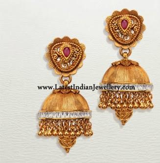 Textured Gold Designer Jhumkis