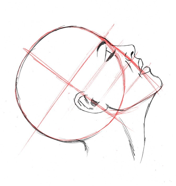 how to draw manga heads at different angles