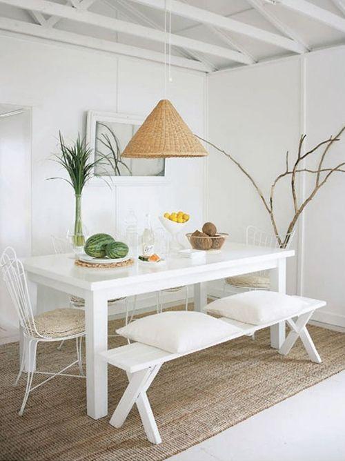 Decoraci n f cil un comedor con bancos de madera - Cortinas para comedores modernos ...