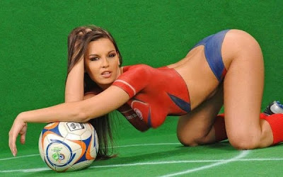 Women of Soccer Costume Airbrush Body Painting Ukraine