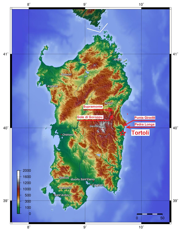 Kaart Sardinië met bezochte plaatsen.