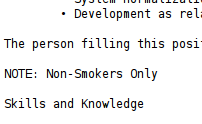 Image capture of job text: NOTE: Non-Smokers Only