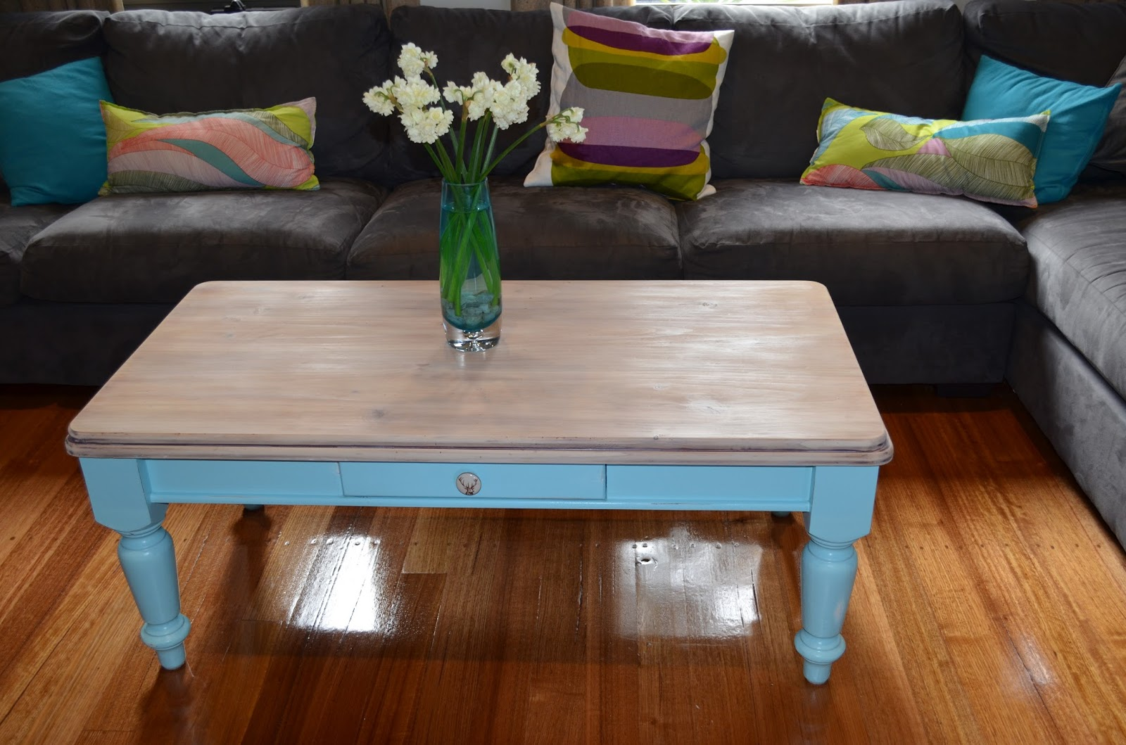 retro vintage love: pale blue and whitewashed distressed coffee table