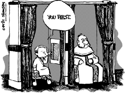 Funny catholic church priest confession booth cartoon joke picture