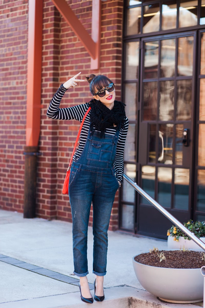striped top, overalls, fashion overalls, free people overalls, kate spade red purse, kate spade cross body, maternity style, bump style, high bun, top bun, matte red lipstick, glitter earrings, kate spade glitter earrings, winter overalls, nashville blogger, style blogger, maternity blogger