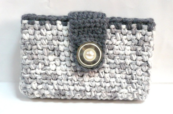 Nicely created for you crocheted business card credit card holder crocheted business card credit card holder in variegated grey yarn reheart Choice Image