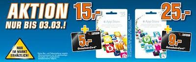 iTunes-Aktion bei Saturn bis 03.März: 5€- bzw. 9€-Gutschein beim Kauf eine Guthabenkarte (15€ oder 25€)