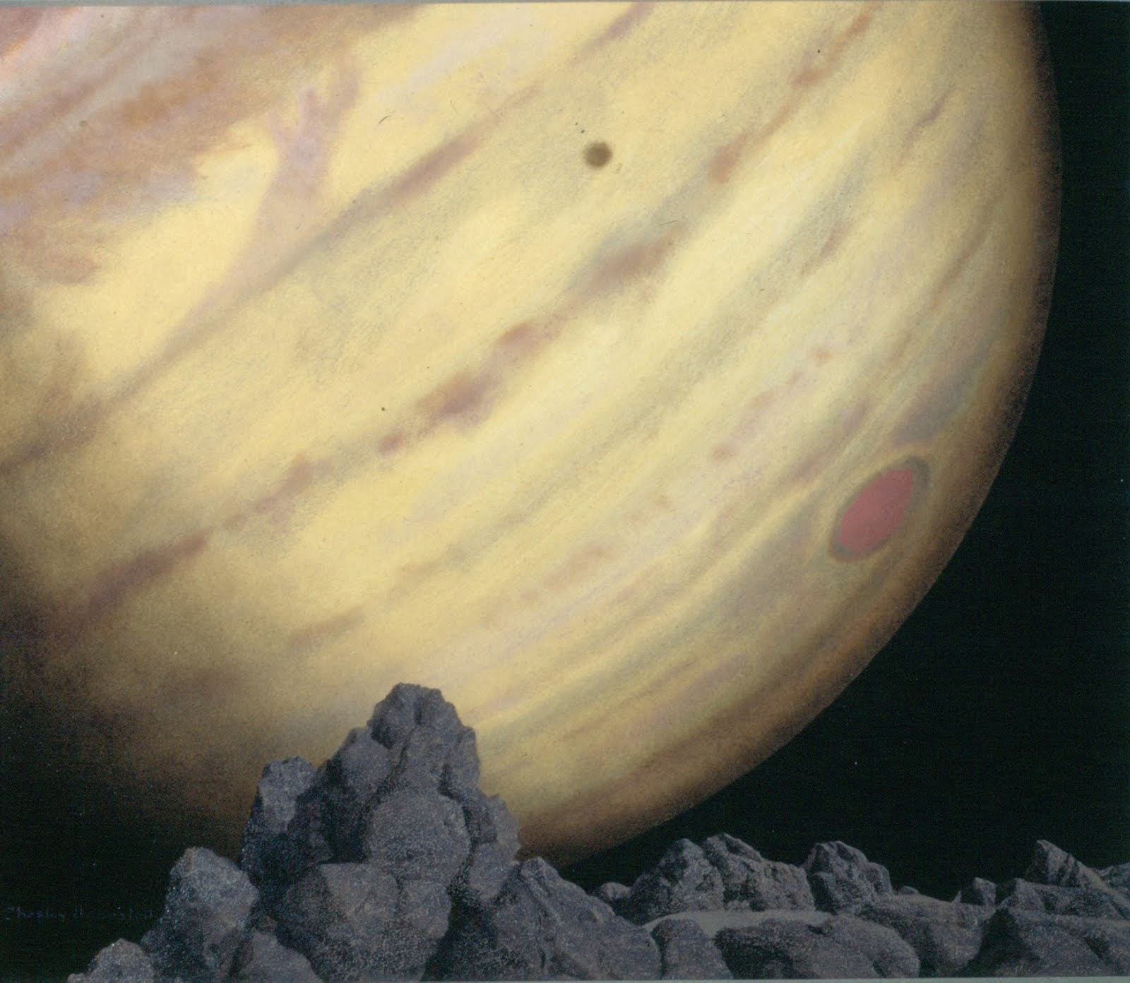 Jupiter as seen from Amalthea painting by Chesley Bonestell