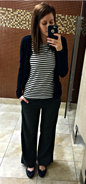 Pinspired Outfits Lately - Striped top + black cardigan + grey pants