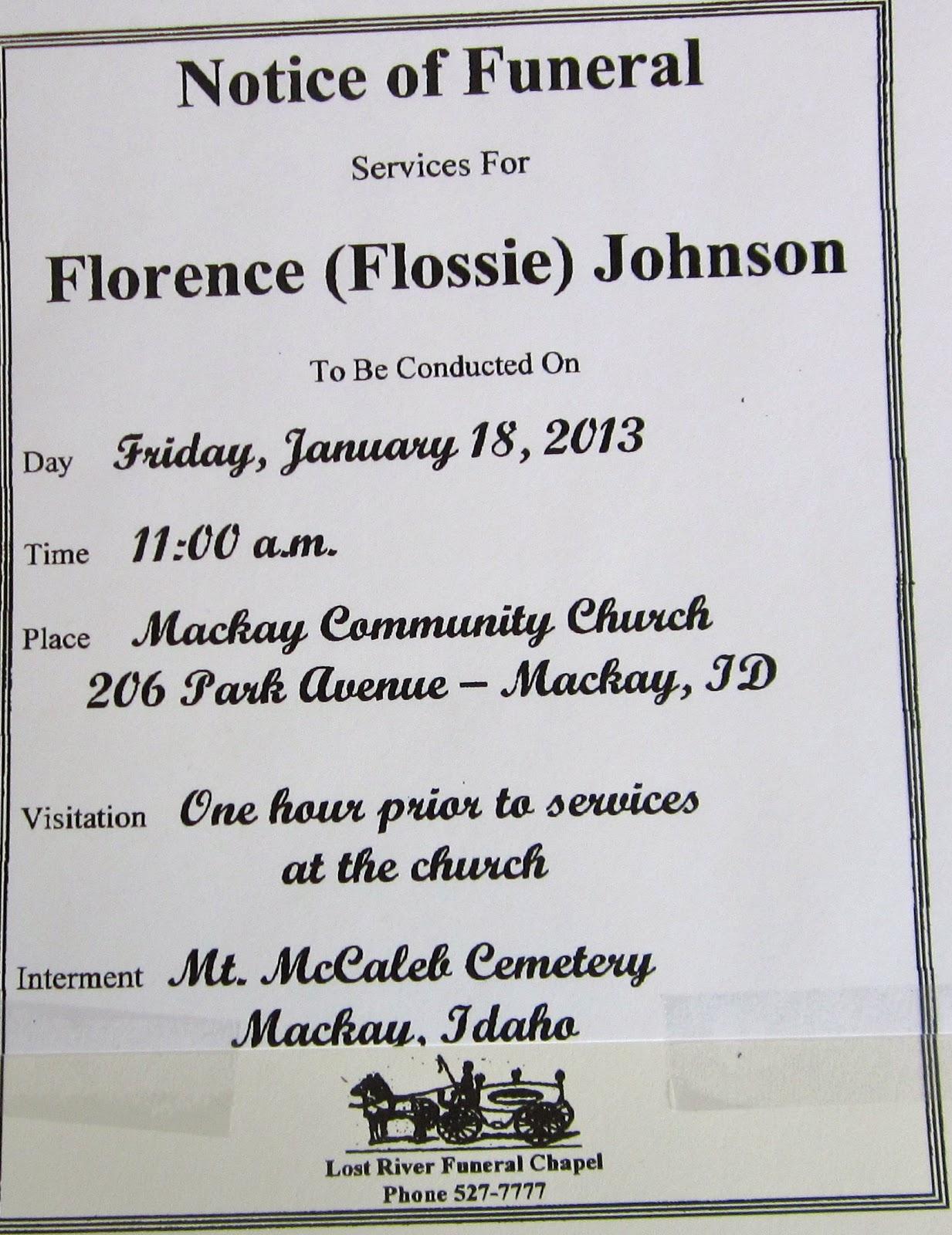 Mackay, Idaho 83251: Flossie Miller Johnson Passes Away - January ...