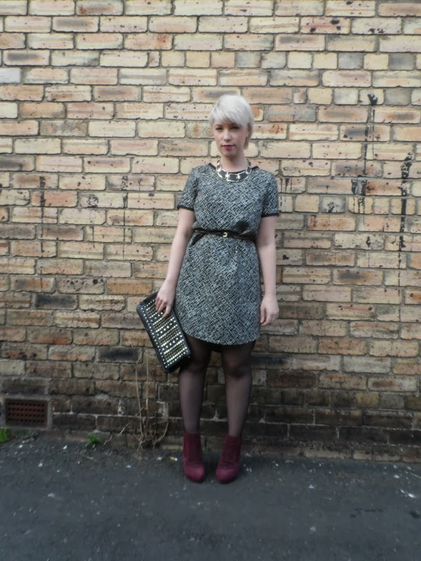New Look Monochrome Tunic, Miss Selfridge Studded Clutch, Baratts Berry Ankle Boots, New Look Leather Necklace