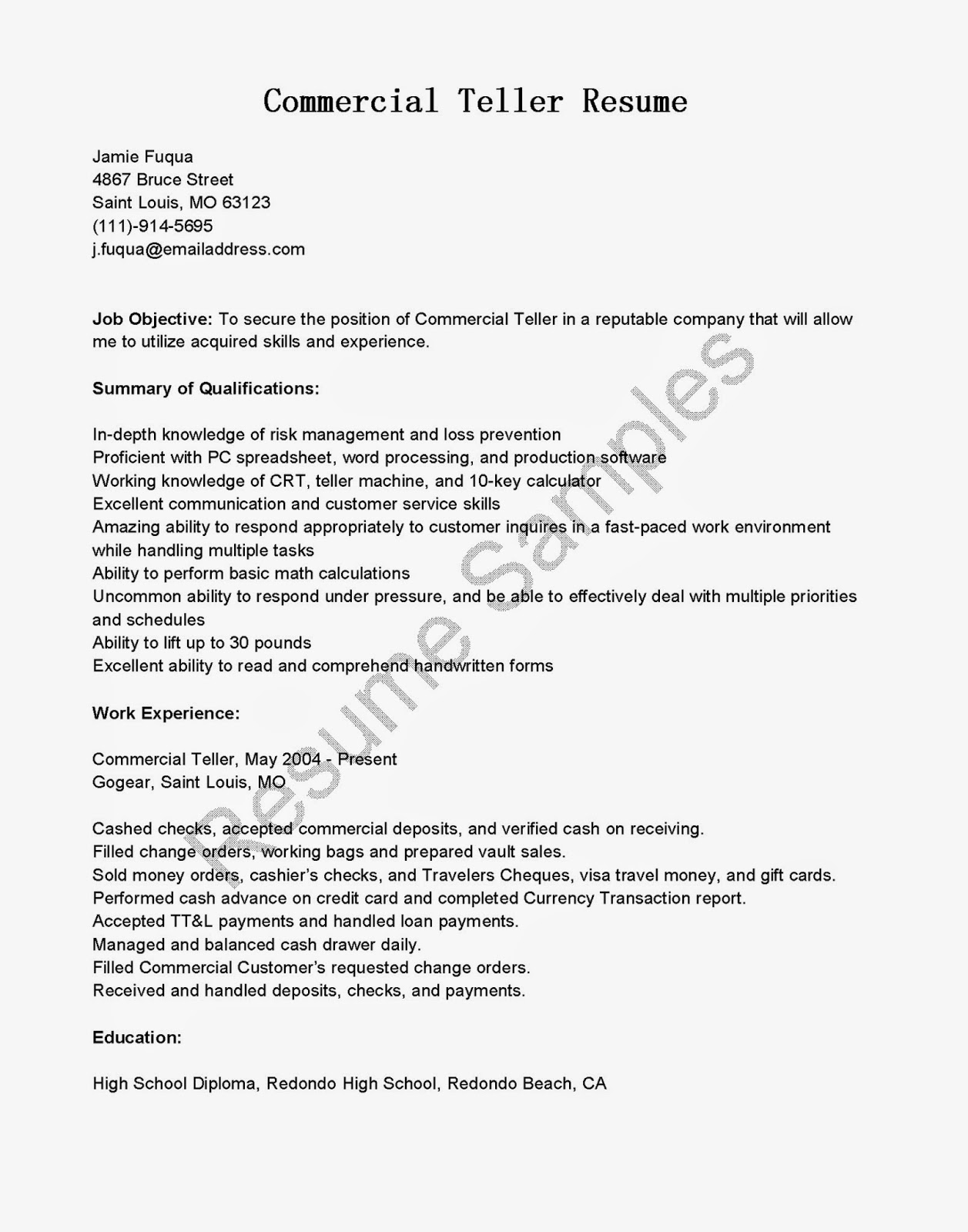 resume samples commercial teller resume sample