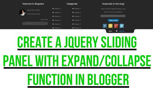 jQuery Sliding Menu Expand/Collapse Function Blogger