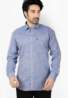 Ishin Solid Blue Casual Shirt