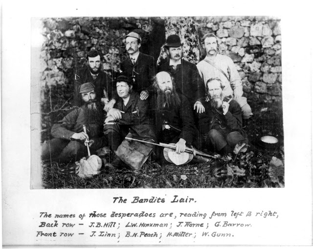 The names of those desperadoes are (left to right), back row - J.B. Hill, L.W. Hinxman, J. Horne, G. Barrow. Front row (left to right), J. Linn, B.N. Peach, H. Miller, W. Gunn.