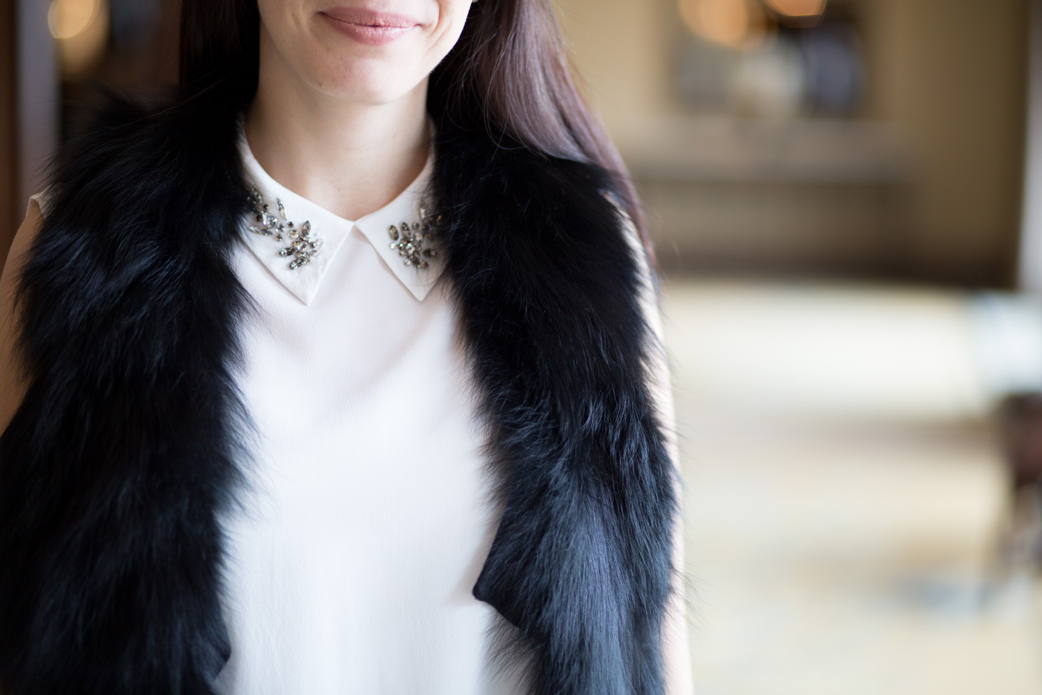 Jewel Collar and Fur Vest