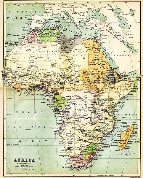 the image shows a political map with the knowledge about africa in the year 1885