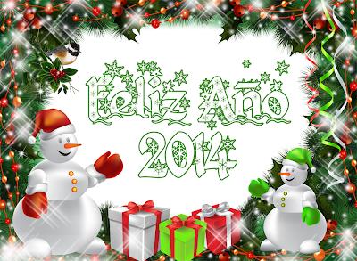 2014 muñecos de nieve con mensaje de Año Nuevo