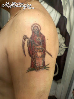 Grim Reaper tattoo; mexican death tattoo; Santa Muerte tattoo; owl tattoo