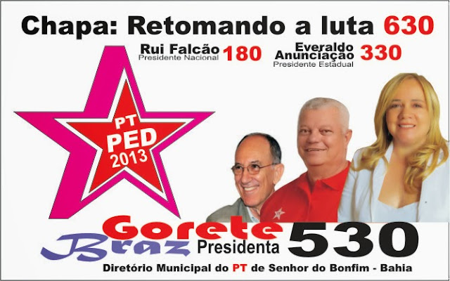 GORETE BRAZ CANDIDATA A PRESIDÊNCIA DO PT DE BONFIM