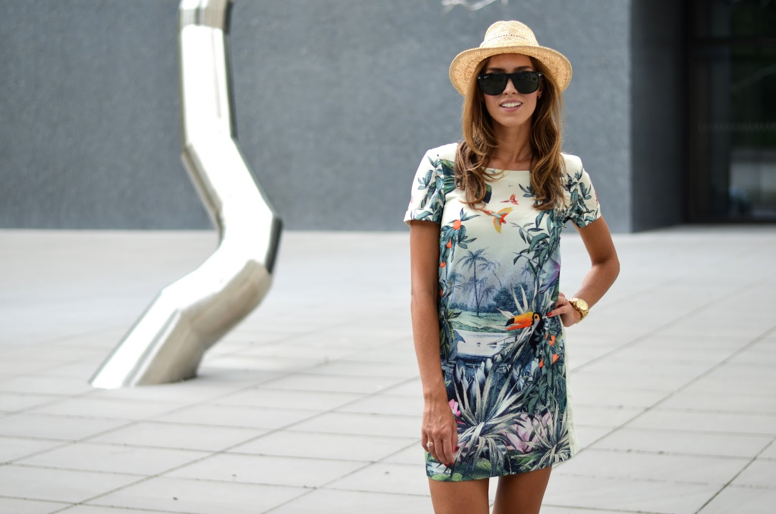 kristjaana mere fedora ray ban sunglasses summer dress outfit