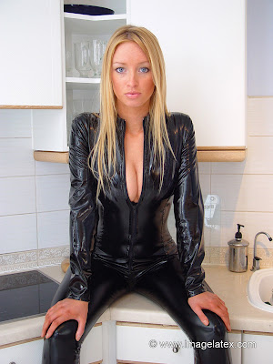 Hot Lauren Posing in Black Latex
