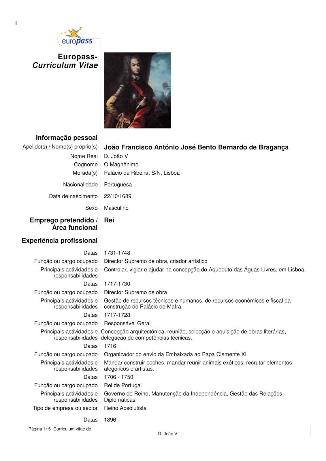 curriculum vitae download word portugues