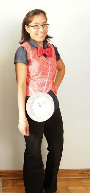 red vest White Rabbit Alice in Wonderland Spirit Week chambray shirt