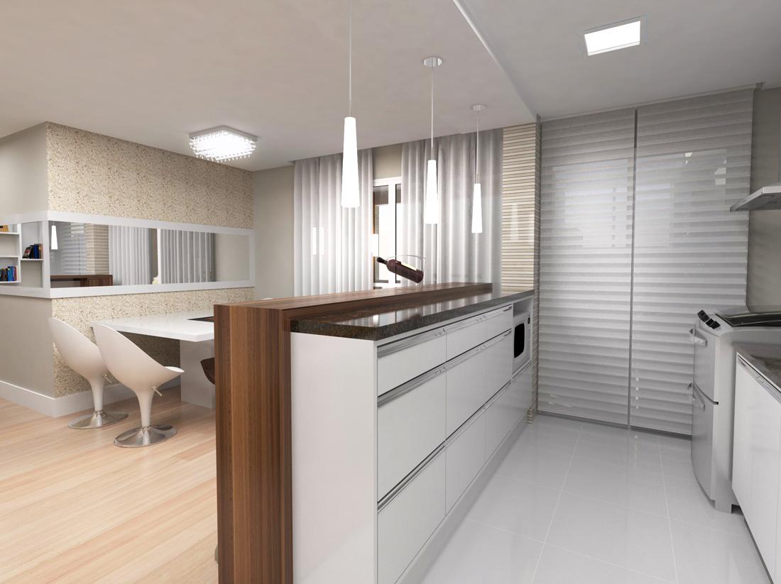 de Interiores e Maquete 3D: Projeto Cozinha para apartamento compacto #244D7C 1100 823