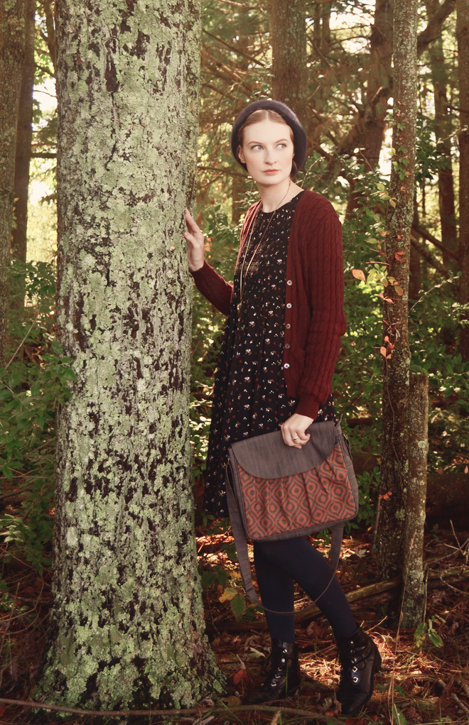 Autumn outfit: black dress, ditsy print