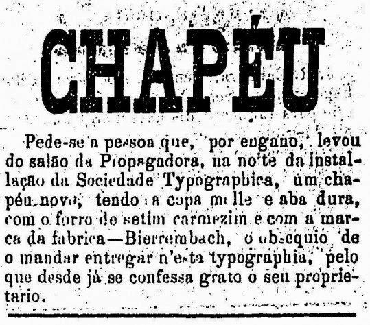 Anúncio classificado de um chapéu perdido, no ano de 1876, em São Paulo.