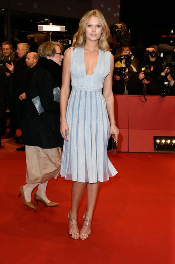 Toni Garrn wears a simple blue dress at the Berlin Film Festival in Germany on Thursday, February 5, 2015.