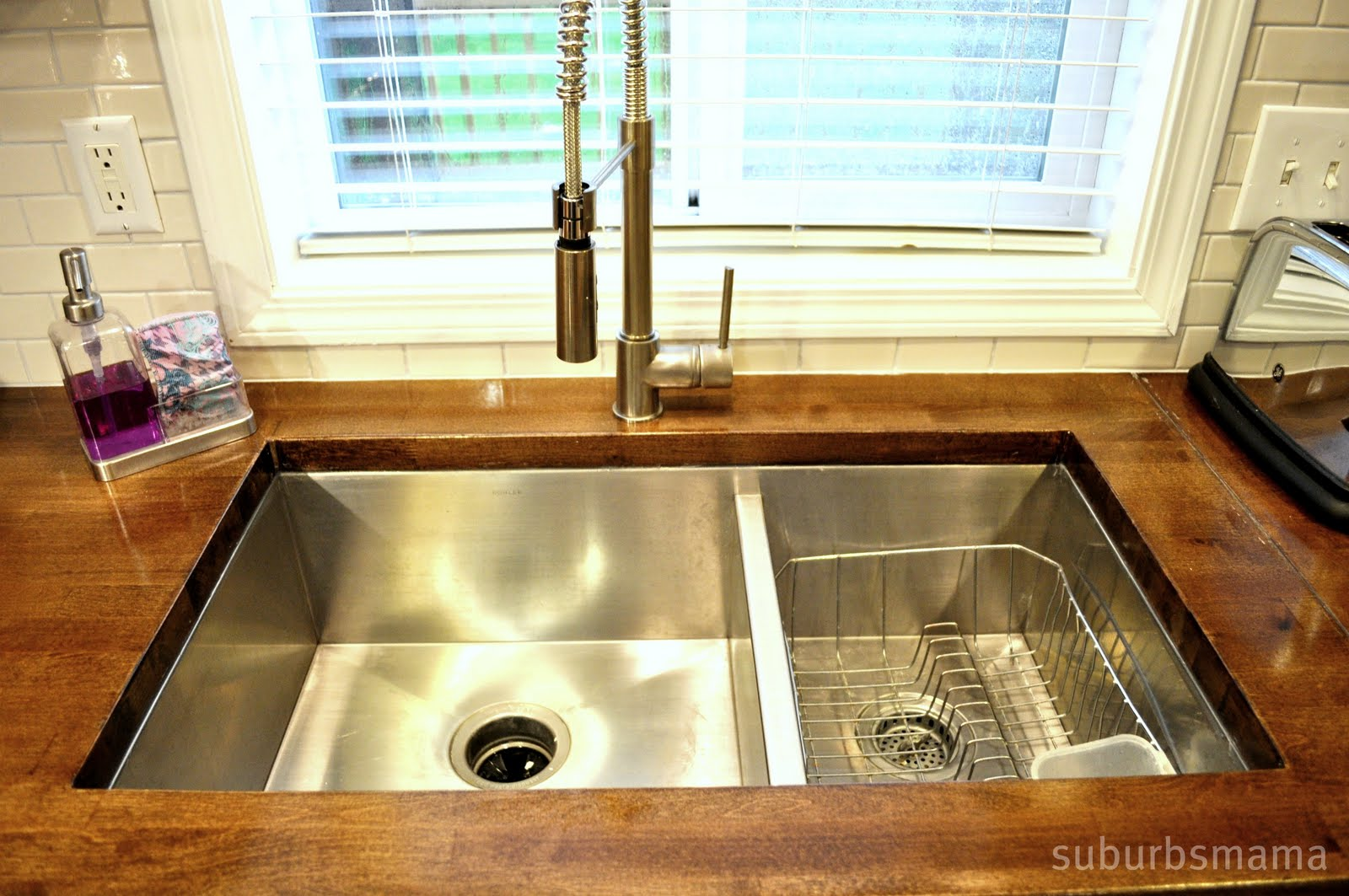 Suburbs Mama: Our Butcher Block Counters on butcher block countertop marble, butcher block countertop bathroom, butcher block countertop laundry,